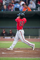Billings Mustangs shortstop Carlos Rivero (23) follows through on his swing during a Pioneer League game against the Idaho Falls Chukars at Melaleuca Field on August 22, 2018 in Idaho Falls, Idaho. The Idaho Falls Chukars defeated the Billings Mustangs by a score of 5-3. (Zachary Lucy/Four Seam Images)