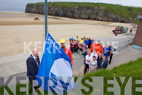 The Blue Flag has returned to Ballybunion North beach on Friday morning much to the delight of locals. Pictured were: Mayor of Kerry John Brassil, Charlie McCarthy, Cllr. Robert Beasley, Cllr. Jimmy Moloney, Cllr. Mkie Kennelly, Cllr Aoife Thornton, Michael Brassil, Michael O'Sullivan, Pa Galvin, Pupils from second class Scoil Isogain, Eily Walsh (principal), Christina Kennelly, Ita walsh (new principal of Scoil Isogain), Kevin and Fiona O'Callaghan, Ger Walsh. The Blue Flag has returned to Ballybunion North beach on Friday morning much to the delight of locals. Pictured were: Mayor of Kerry John Brassil, Charlie McCarthy, Cllr. Robert Beasley, Cllr. Jimmy Moloney, Cllr. Mkie Kennelly, Cllr Aoife Thornton, Michael Brassil, Michael O'Sullivan, Pa Galvin, Pupils from second class Scoil Isogain, Eily Walsh (principal), Christina Kennelly, Ita Walsh (new principal of Scoil Isogain), Kevin and Fiona O'Callaghan, Ger Walsh.