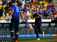 Trent Boult shows his frustration in trying to dismiss Stuart Broad during the ICC Cricket World Cup one day pool match between the New Zealand Black Caps and England at Wellington Regional Stadium, Wellington, New Zealand on Friday, 20 February 2015. Photo: Dave Lintott / lintottphoto.co.nz