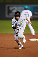 Mesa Solar Sox Nick Allen (3), of the Oakland Athletics organization, runs to third base during an Arizona Fall League game against the Salt River Rafters on September 19, 2019 at Salt River Fields at Talking Stick in Scottsdale, Arizona. Salt River defeated Mesa 4-1. (Zachary Lucy/Four Seam Images)