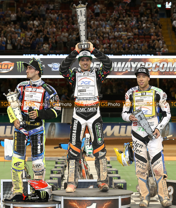 Winner of the British Grand Prix Niels-Kristian Iversen of Denmark (centre), Runner-Up Chris Holder of Australia (left) and 3rd placed Peter Kildemand (right) - British Speedway Grand Prix at the Millennium Stadium, Cardiff - 04/07/15 - MANDATORY CREDIT: Rob Newell/TGSPHOTO - Self billing applies where appropriate - 0845 094 6026 - contact@tgsphoto.co.uk - NO UNPAID USE