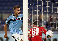 Football, Serie A: S.S. Lazio - Fiorentina, Olympic stadium, Rome, June 27, 2020. <br /> Lazio's Ciro Immobile celebrates after scoring during the Italian Serie A football match between S.S. Lazio and Fiorentina at Rome's Olympic stadium, Rome, on June 27, 2020. <br /> UPDATE IMAGES PRESS/Isabella Bonotto