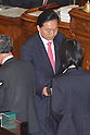 June 26, 2012, Tokyo, Japan - Japan's former Prime Minister Yukio Hatoyama casts his vote during a plenary session of the Diet lower house in Tokyo on Tuesday, June 26, 2012. The House of Representatives passed the sales tax hike legislation with the backing of two main opposition parties by 363 to 96 votes. (Photo by Natsuki Sakai/AFLO)