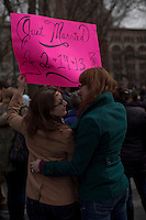 A lesbian couple attend a rally supporting equality sex marriage for guys in New York, March 24, 2013. Photo by Eduardo Munoz Alvarez / VIEWpress.