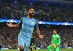 Sergio Aguero of Manchester City celebrates his goal during the UEFA Champions League Group C match at The Etihad Stadium, Manchester. Picture date: September 14th, 2016. Pic Simon Bellis/Sportimage