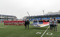 Former team mates of Elli Norkett who sadly passed away hold a flag representing the four teams Eli Played for<br /> <br /> <br /> Photographer Ian Cook/CameraSport<br /> <br /> Women's Six Nations Round 4 - Wales Women v Ireland Women - Saturday 11th March 2017 - Cardiff Arms Park - Cardiff<br /> <br /> World Copyright &copy; 2017 CameraSport. All rights reserved. 43 Linden Ave. Countesthorpe. Leicester. England. LE8 5PG - Tel: +44 (0) 116 277 4147 - admin@camerasport.com - www.camerasport.com