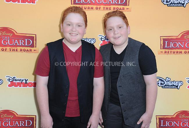 WWW.ACEPIXS.COM<br /> <br /> November 14 2015, LA<br /> <br /> Matthew Royer and Benjamin Royer arriving at the premiere of Disney Channel's 'The Lion Guard: Return Of The Roar' at Walt Disney Studios on November 14, 2015 in Burbank, California.<br /> <br /> <br /> By Line: Peter West/ACE Pictures<br /> <br /> <br /> ACE Pictures, Inc.<br /> tel: 646 769 0430<br /> Email: info@acepixs.com<br /> www.acepixs.com