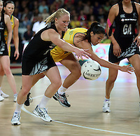 20.09.2012 Silver Ferns Laura Langman and Australian Mo'onia Gerrard in action during the second netball test match between the Silver Ferns and the Australian Diamonds played at Vector Arena in Auckland. Mandatory Photo Credit ©Michael Bradley.