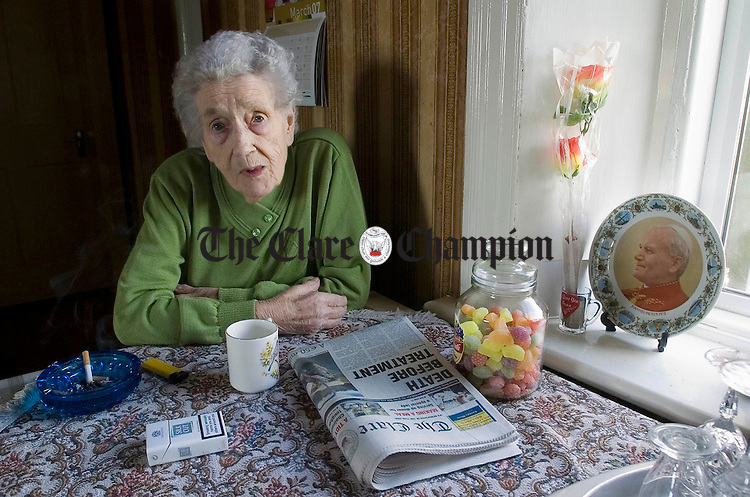 Anna Burke who celebrated her 100th birthday, photographed at home. Photograph by John Kelly.