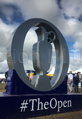 23rd July 2017, Royal Birkdale Golf Club, Southport, England; The 146th Open Golf Championship, fourth round ;  A huge claret jug championship trophy on display in the tented village