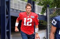 July 26, 2018: New England Patriots quarterback Tom Brady (12) heads to practice at the New England Patriots training camp held on the practice fields at Gillette Stadium, in Foxborough, Massachusetts. Eric Canha/CSM