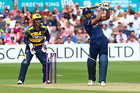 Ravi Bopara hits six runs for Essex as Chris Cooke looks on from behind the stumps during Essex Eagles vs Glamorgan, NatWest T20 Blast Cricket at The Cloudfm County Ground on 16th July 2017