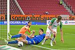 17.06.2020, Fussball 1. Bundesliga 2019/2020, 32. Spieltag, FC Augsburg - TSG 1899 Hoffenheim, in der WWK-Arena Augsburg. (L-R) Torwart Oliver Baumann (TSG 1899 Hoffenheim) und Benjamin Hübner (TSG 1899 Hoffenheim) gegen Alfred Finnbogason (FC Augsburg)<br /> <br /> Foto: Bernd Feil/MIS/Pool/PIX-Sportfotos<br /> <br /> Nur für journalistische Zwecke! Only for editorial use! <br /> <br /> Gemäß den Vorgaben der DFL Deutsche Fußball Liga ist es untersagt, in dem Stadion und/oder vom Spiel angefertigte Fotoaufnahmen in Form von Sequenzbildern und/oder videoähnlichen Fotostrecken zu verwerten bzw. verwerten zu lassen. DFL regulations prohibit any use of photographs as image sequences and/or quasi-video.    <br /> <br /> National and international NewsAgencies OUT.