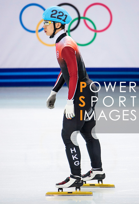 Tianyu Han of Hong Kong looks prior to the Short Track Speed Skating as part of the 2014 Sochi Olympic Winter Games at Iceberg Skating Palace on February 10, 2014 in Sochi, Russia. Photo by Victor Fraile / Power Sport Images