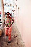 BERMUDA, Hamilton. Chef Marcus Samuelsson walking in downtown Hamilton.