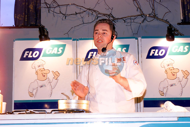 RTE's Open House chef Nevel Maguireand Flo Gas Demenstratorat the Cookery Demonstration in Aid of Tullydonnell national School sponsored by Flo Gas in the Grove in Dunleer...Picture Fran Caffrey Newsfile...This Picture is sent to you by:..Newsfile Ltd.The View, Millmount Abbey, Drogheda, Co Louth, Ireland..Tel: +353419871240.Fax: +353419871260.GSM: +353862500958.ISDN: +353419871010.email: pictures@newsfile.ie.www.newsfile.ie