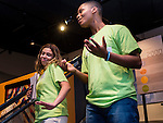 "WATERBURY, CT- 18 May 2016-051816EC08-  Waterbury Arts Magnet School students Jaylin Sepulveda and Wilby student Winston Hendricks perform at Waterbury's Mattatuck Museum Wednesday night for an exhibit put on by young people. ""Picture of Health: A Youth Perspective"" is a look at issues that affect the community, seen through the pictures of students. Homelessness, mental health and nutrition are among the issues addressed in the students' photography projects. Erin Covey Republican-American"
