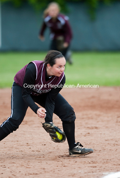 WOLCOTT, CT-052814JS15--Torrington's Alyssa Piccard (24) fields a ground ball during their NVL softball semi-final game against Naugatuck Wednesday at Wolcott High School. <br /> Jim Shannon Republican-American