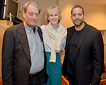 MIAMI, FL - FEBRUARY 21: Author Paul Auster, Siri Hustvedt and Magicians David Blaine pose for picture backstage before preforming during An Evening with Paul Auster & friends! MUSIC, MAGIC & THE MUSE: for his latest novel, '4 3 2 1' features Singer Sophie Auster at Adrienne Arsht Center - Knight Concert Hall on February 21, 2017 in Miami, Florida. ( Photo by Johnny Louis / jlnphotography.com )