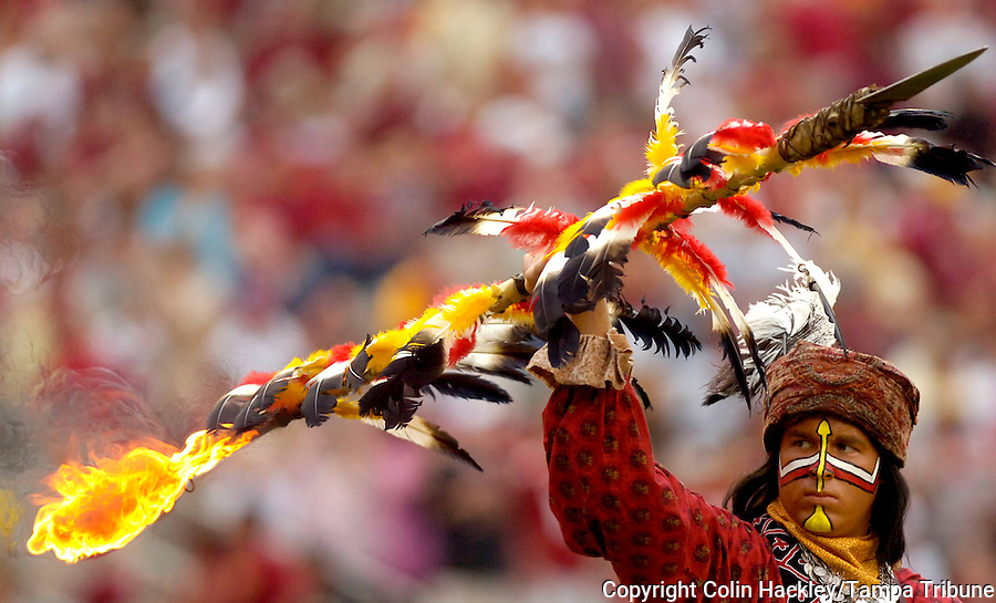 TALLAHASSEE, FL.9/9/06-FSU student Josh Halley portrays Chief Osceola prior to the  FSU-Troy game, Saturday at Doak Campbell Stadium in Tallahassee. COLIN HACKLEY PHOTO