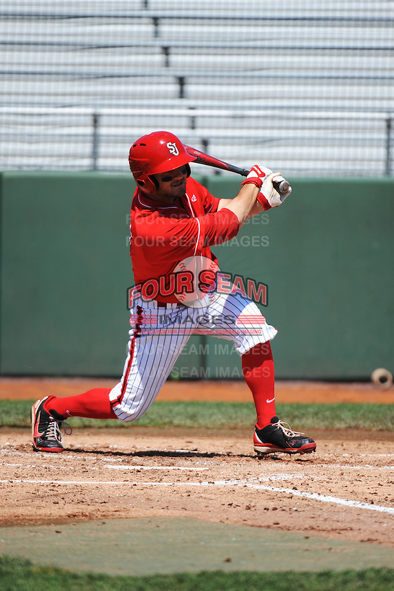 St. John's University Redstorm outfielder Zach Lauricella (13) during game against the University of Notre Dame Fighting Irish at Jack Kaiser Stadium on May 12, 2013 in Queens, New York. St. John's defeated Notre Dame 2-1.      . (Tomasso DeRosa/ Four Seam Images)