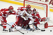 Mike Moran (BU - 11), Garrett Noonan (BU - 13), Quinn Smith (BC - 27), Sean Maguire (BU - 31) - The Boston College Eagles defeated the visiting Boston University Terriers 6-4 (EN) on Friday, January 17, 2014, at Kelley Rink in Conte Forum in Chestnut Hill, Massachusetts.
