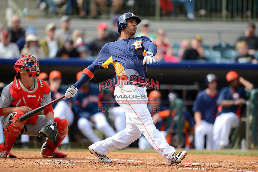 Houston Astros first baseman Carlso Pena #12 during a Spring Training game against the St. Louis Cardinals at Osceola County Stadium on March 1, 2013 in Kissimmee, Florida.  The game ended in a tie at 8-8.  (Mike Janes/Four Seam Images)