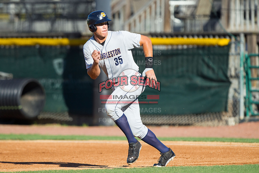 Aaron Judge (35) of the Charleston RiverDogs takes off for second base against the Hickory Crawdads at L.P. Frans Stadium on May 24, 2014 in Hickory, North Carolina.  The Crawdads defeated the RiverDogs 7-3.  (Brian Westerholt/Four Seam Images)