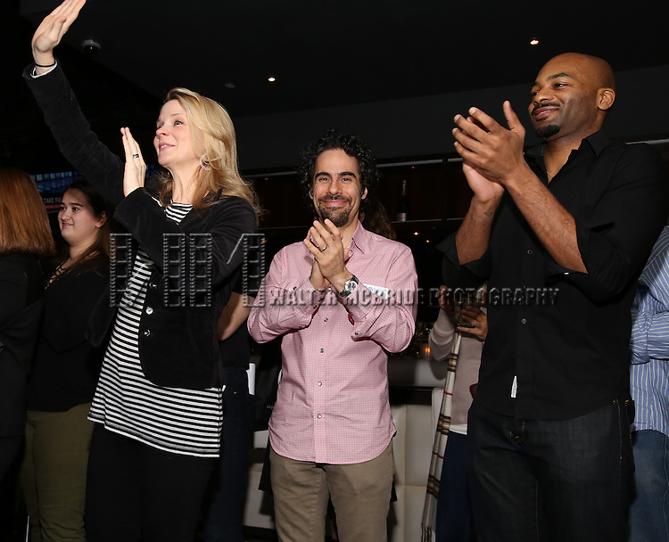 Kelli O'Hara, Alex Lacamoire and Brandon Victor Dixon attends the 5th Annual Paul Rudd All-Star Bowling Benefit for (SAY) at Lucky Strike Lanes on February 13, 2017 in New York City.