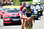 The breakaway group featuring Guillaume Van Keirsbulck (BEL) Wanty-Groupe Gobert, Dimitri Claeys (BEL) and Anthony Perez (FRA) Cofidis and Jerome Cousin (FRA) Direct Energie during Stage 4 of the 2018 Tour de France running 195km from La Baule to Sarzeau, France. 10th July 2018. <br /> Picture: ASO/Alex Broadway | Cyclefile<br /> All photos usage must carry mandatory copyright credit (&copy; Cyclefile | ASO/Alex Broadway)