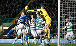 Celtic v St Johnstone...23.01.16   SPFL  Celtic Park, Glasgow<br /> Joe Shaughnessy's back header beats Craig Gordon only to be cleared off the line by Stefan Johansen<br /> Picture by Graeme Hart.<br /> Copyright Perthshire Picture Agency<br /> Tel: 01738 623350  Mobile: 07990 594431