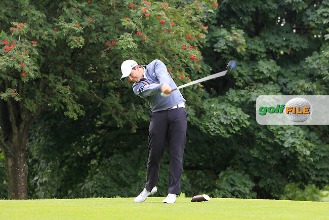 Colm Campbell (Warrenpoint) on the 6th tee during the Ulster Semi-Final of the AIG Barton Shield at Knock Golf Club in Belfast on Sunday 23rd August 2015.<br /> Picture:  Thos Caffrey / www.golffile.ie
