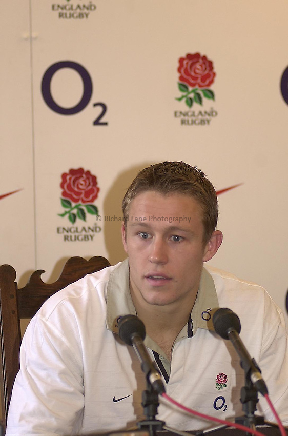 Photo Peter Spurrier.06/03/2003..Jonny Wilkinson Press conference Pennyhill Park