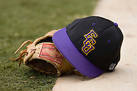 An East Carolina Pirates hat rests on a glove at Sarge Frye Field in Columbia, SC, Sunday, February 24, 2008.