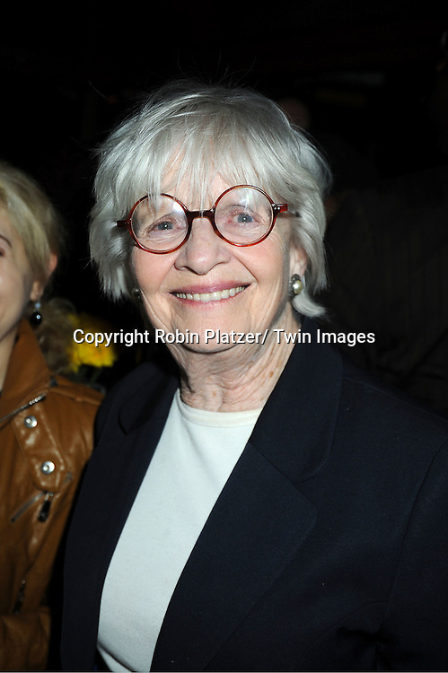 "Pat Bosworth attends the opening Night of  ""Psycho Therapy"" on February 7, 2012 at The Cherry Lane Theatre in New York City. The show stars, Angelica Page, Jeffrey Carlson, Jan Leslie Harding and Laurence Lau."