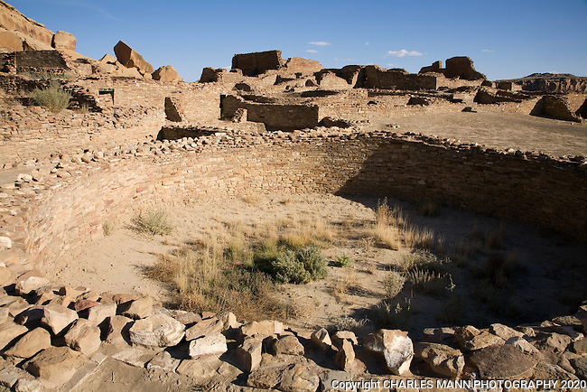 An excavated kiva, a ceremonial underground room, at Pueblo Bonito, one of the larger Anasazi settlements in Chaco Culture National Historical Park