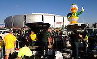 Jan 10, 2011; Glendale, AZ, USA; Oregon Ducks fans tailgate before the 2011 BCS National Championship game against the Auburn Tigers at University of Phoenix Stadium.  Mandatory Credit: Mark J. Rebilas-