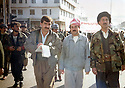 Iraq 1992 <br /> In Duhok, right, Said Saleh Chems Seydi, in the middle, Nechirvan Ahmed, left, a journalist of the Kurdish television  <br /> Irak 1992 <br /> Dans une rue de Dohok, a droite, Said Saleh Chems Seydi, au milieu , Nechirvan Ahmed et a gauche, un journaliste de la television kurde
