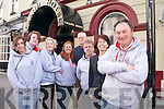 The Tralee Pipe Band, who are fundraising to compete in the World Pipe Band Championships in Glasgow. Pictured from left: Amy McGrath, Aidan O'Sullivan, Bridget Long, Karen MacMahon, Christie Switzer, Dan O'Donoghue, Eileen Egan (the Grand Hotel) and Johnny Sheehan.