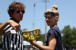 CHAPEL HILL, NC - MAY 20: Navy's Natalie Irwin (right) has her stick checked. The University of North Carolina Tar Heels hosted the U.S. Naval Academy Midshipmen on May 20, 2017, at Fetzer Field in Chapel Hill, NC in an NCAA Women's Lacrosse Tournament Quarterfinal match. Navy won the game 16-14.