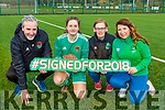 Hannah O'Donoghue signed for Cork City from Killarney Celtic in Celtic Park on Saturday l-r: Frank Kelliher Cork City manager, Hannah O'Donoghue and Ramona Keogh-Burchill