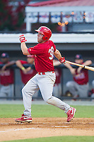Casey Grayson (38) of the Johnson City Cardinals follows through on his swing against the Burlington Royals at Burlington Athletic Park on July 14, 2014 in Burlington, North Carolina.  The Cardinals defeated the Royals 9-4.  (Brian Westerholt/Four Seam Images)