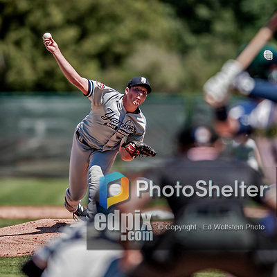 19 July 2018: Staten Island Yankee pitcher Matt Sauer on the mound against the Vermont Lake Monsters at Centennial Field in Burlington, Vermont. The Lake Monsters edged out the Yankees 2-1 in NY Penn League action. Mandatory Credit: Ed Wolfstein Photo *** RAW (NEF) Image File Available ***