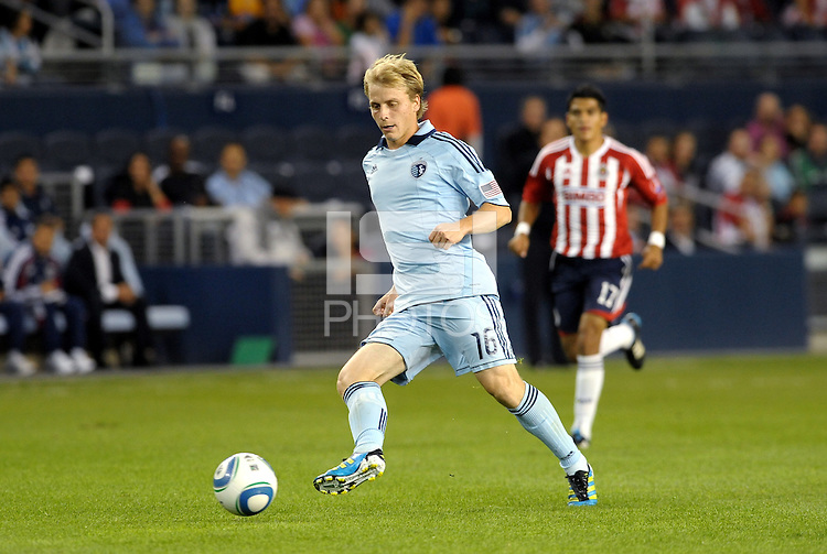 Seth Sinovic (16) defender Sporting KC in action... Sporting Kansas City and Chivas Guadalajara played to a 2-2 tie in an international friendly at LIVESTRONG Sporting Park, Kansas City, Kansas.