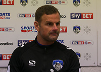 Oldham Athletic's manager Richie Wellens talks to the press after  during the Sky Bet League 1 match between Oldham Athletic and Rochdale at Boundary Park, Oldham, England on 18 November 2017. Photo by Juel Miah/PRiME Media Images