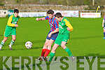 Camp United's Gearoid O'Shea and Dingle Bay Rovers Aodh Curran...