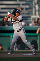 Lake Elsinore Storm second baseman Eguy Rosario (1) at bat during a California League game against the Modesto Nuts at John Thurman Field on May 11, 2018 in Modesto, California. Modesto defeated Lake Elsinore 3-1. (Zachary Lucy/Four Seam Images)