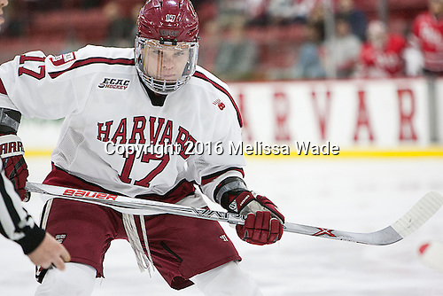 Sean Malone (Harvard - 17) - The Harvard University Crimson defeated the visiting Rensselaer Polytechnic Institute Engineers 5-2 in game 1 of their ECAC quarterfinal series on Friday, March 11, 2016, at Bright-Landry Hockey Center in Boston, Massachusetts.