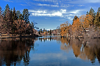 Mirror Pond and Drake Park during the winter, Bend, Oregon.