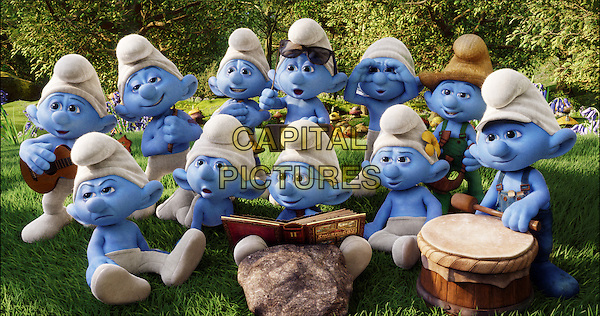 A group of Smurfs in Smurf Village<br /> in The Smurfs 2 (2013) <br /> *Filmstill - Editorial Use Only*<br /> CAP/NFS<br /> Image supplied by Capital Pictures